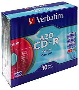 Verbatim Cd-R 80Min/700Mb/52X Slimcase (10 Discos) Datalifeplus, Superficie Color