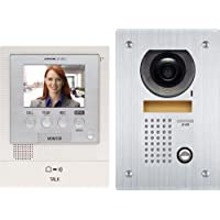 Aiphone JFS-2AEDF Audio/Video Intercom System with Flush-Mount Door Station with Stainless Steel Faceplate for Single Door, Accepts an Additional Door Station and Up to Two Sub-Master Stations