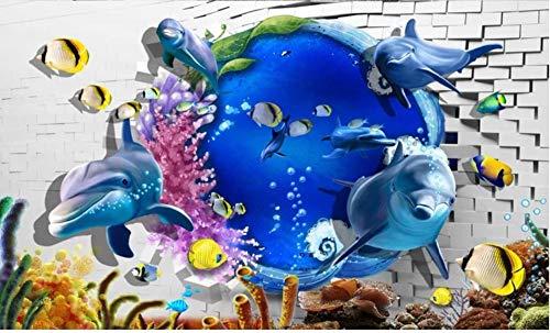 Custom Photo Wallpaper 3D Wall murals Wallpaper Mediterranean 3D Sea World Dolphin Breaking Wall Background Wall Papers Decor,430300CM