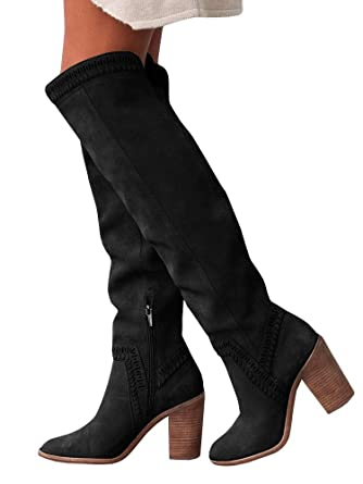 92efad83a22 Women s Over the Knee Chunky Block Heel Side Zipper Slouch Faux Suede  Riding Boots Western Shoes