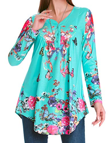 Green Tunic Tops for Women Acloth Long Shirts to Wear with Leggings Vintage Printed V Neck Streth Button Up Paisley Patterned Casual Office Wear Henley Loose Work Blouse Turquoise XL - Vintage Blouse Paisley