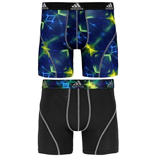 adidas Men's Sport Performance Climalite Boxer Brief Underwear , Solar Green/Grey/Black, X-Large/Waist Size 40-42