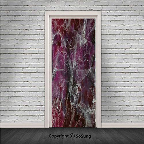 Marble Door Wall Mural Wallpaper Stickers,Psychedelic Stylized Artistic Dark Colors Cloudy Onyx Stone Surface Print Decorative,Vinyl Removable 3D Decals 30.4x78.7/2 Pieces set,for Home Decor Charcoal