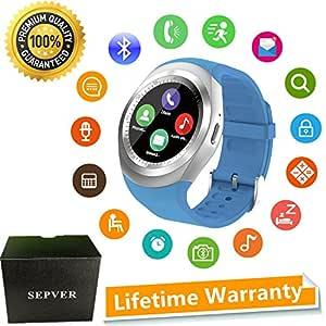 SEPVER Reloj Inteligente Smartwatch para iOS iPhone y Android Hombres Mujeres (Azul)