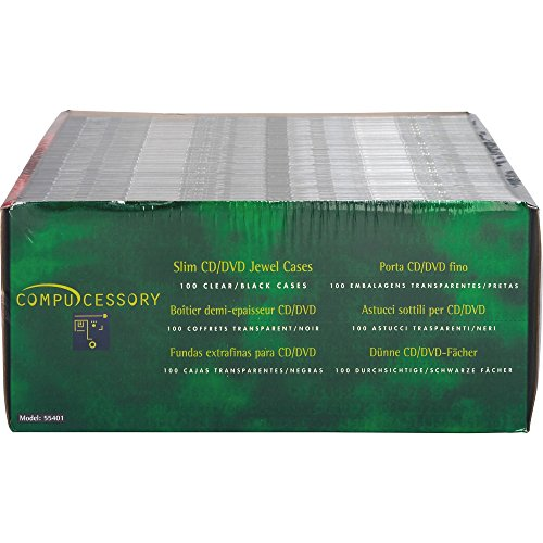 Compucessory 55401 Thin CD/DVD Jewel Case, One CD W/Literature, 100/PK, Clear ()
