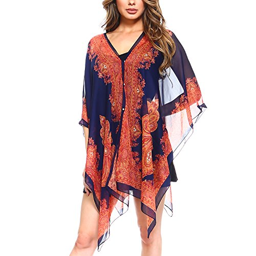 - Fashionazzle Women's Summer Beach Wear Cover up Swimwear Beach Dress Top (One Size, CT01-Navy)