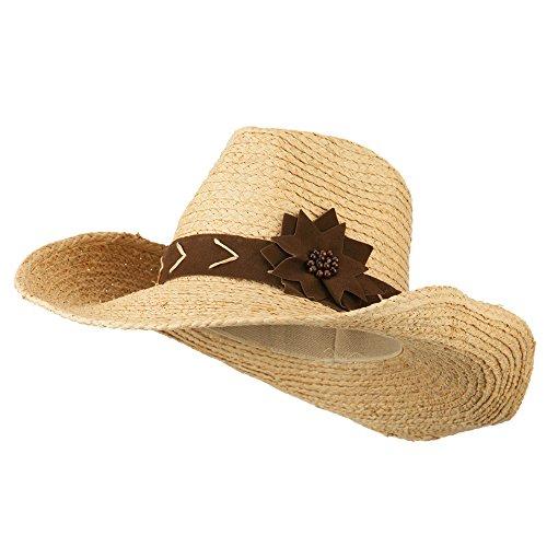 (Jeanne Simmons Raffia Suede Flower Cowboy Hat - Natural OSFM)