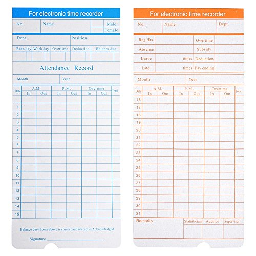 - Yescom 200 Count Monthly Time Clock Cards Timecard for Employee Attendance Payroll Recorder