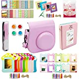 Katia Instant Camera Accessories Bundles Set for Fujifilm Instax Mini 8/8+ with Camera Case Pink/ Photo Albums/ Selfie Len/ Wall Hang Frame/ Border Stickers/ Filters/ Camera Strap (Pink)