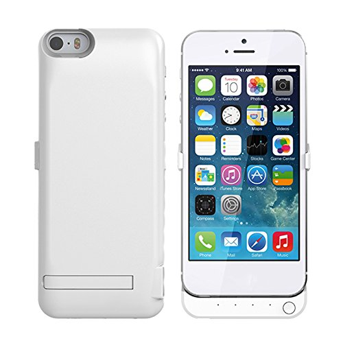 iPhone 5 5S 5C SE 4000mAh Case Battery Protective Portable Charging Case BasicStock Battery Extender Thin and Slim Hard PC + TPU Cellphone Case Non Slip Cover for iPhone 5 5S 5C SE 4000mAh (White) -  4113-60-742
