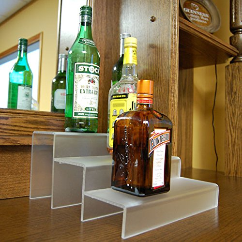 KegWorks 3 Tier Liquor Bottle Step Shelf - Translucent - 12 Inches Long (Bottle Liquor Shelves)
