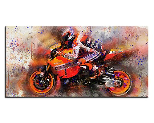 Canvas Prints Motorcycle Painting Abstract Canvas Wall Art Decor - Large Panoramic Contemporary Pictures Racing Moto Artwork Framed Canvas Art for Home Office Decoration 20