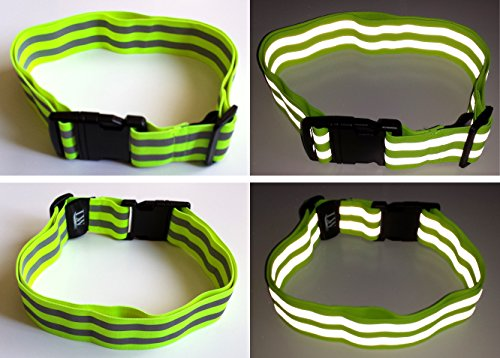 LW (Living Water) Reflective Belt Sash Band Elastic Safety Running Jogging Walking Biking Cycling High Visibility (Yellow)