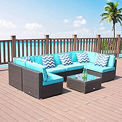 Patio 7 Piece All-Weather Brown Checkered Rattan Sofa Set