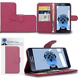 Pink Samsung Galaxy A5 SM-A500F Case Durable PU Leather Book Style Wallet Cover with Credit / Business Card Holder and Horizontal Viewing Stand