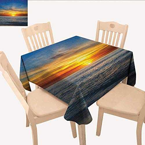 longbuyer Ocean Christmas Tablecloth Sunset Over Pacific Ocean from La Jolla California Sun Rays Colored Sky Photo Print BBQ Tablecloth Orange Blue W 54