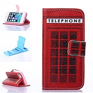 Mini - Red Shelter Pattern PU Leather Full Body Case with Stand for iPhone 5/5S