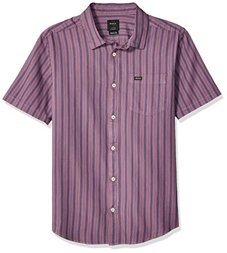 (RVCA Men's Shuffle Stripe Short Sleeve Woven Button Front Shirt, Dark Violet, S)