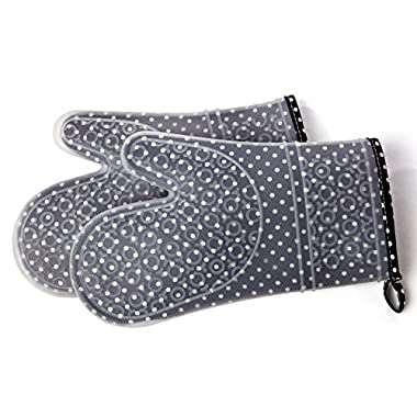 Silicone Kitchen Oven Mitts – Set of 2 with Washable Quilted Cotton Linings