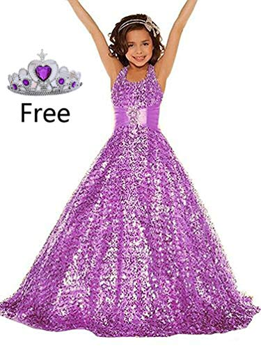 Gzcdress Shining Girl Dresses Long Sequins Pageant Girls Dresses Wedding Flower Toddler Gown 16 Lilac -