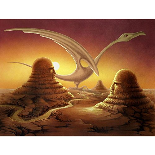 Pitaara Box Surreal Scene of Stone Sculptures in A Desert Peel & Stick Vinyl Wall Sticker 21.1 X 16Inch
