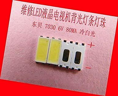 WillBest - Lote de 200 luces LED para reparación de televisores LCD, luz de fondo, ledes SMD 7030 de 6 V, diodo emisor de luz blanca fría: Amazon.es: Amazon.es