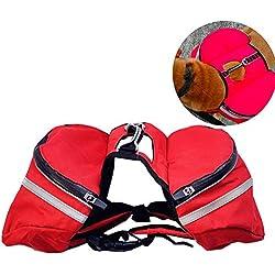 PJDDP Saddle Bag Dog Backpack,Adjustable Dog Backpack Harness,Dog Pack,Red,XL