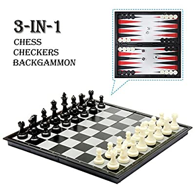 """Amerous 3-in-1 12"""" Folding Travel Magnetic Chess /Checker and Backgammon Chess Set, Chess Board Game Gifts for Kids or Adults"""