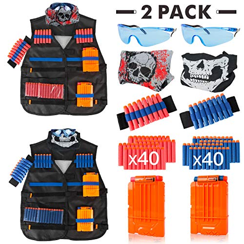 Little Valentine 2 Sets Kids Tactical Vest Kit for Nerf Guns N-Strike Elite Series , 2 Pack Tactical Vest Jacket with 2 Wrist Bands, 2 Quick Reload Clips, 2 Protective Glasses, 2 Face Mask, 80 Bullets