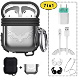 OUYZY Compatible Airpods Case, Complete Airpods Accessories Kits, Shock Resistant Airpods Case Cover with Keychain (Dual Layer of Silicone Cover + Metal Cover)