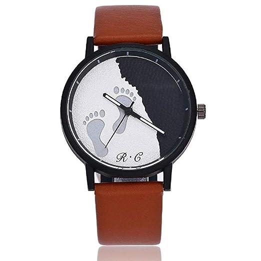 Reloj para Mujer,Scpink Moda Reloj de Cuarzo clásico Costura de la Lente de Cristal Bisel de Acero Inoxidable Linda Patrón de Huella Retro Niñas Wrist Reloj ...
