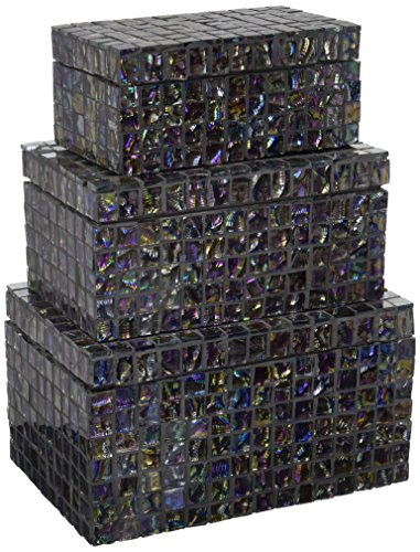 IMAX 1956-3 Orchid Mosaic Box, Set of 3