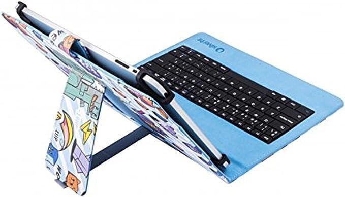 Silver HT 111934540199- Funda Universal con Teclado Micro USB Pixel Gamer para Tablet de 9