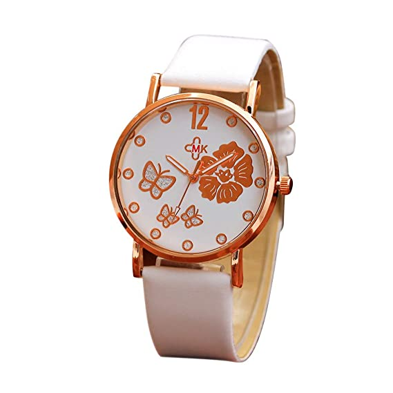 Bestow Correa de Color de Moda Reloj de Correa de Pensamiento Digital Analšgico Banda de Cuero Relojes de Pulsera Analšgico de Cuarzo(Blanco): Amazon.es: ...