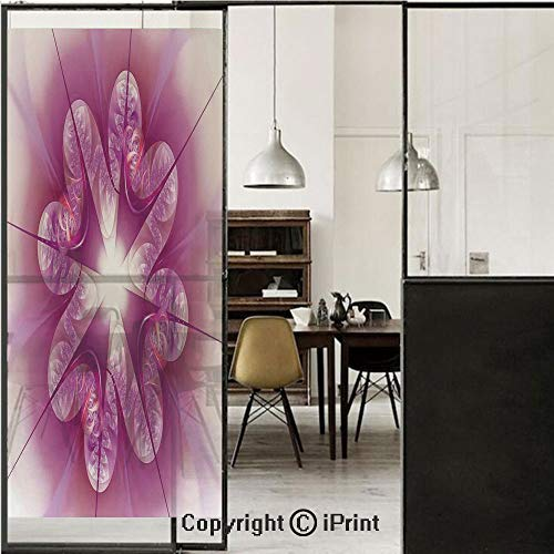 Spires Decor 3D Decorative Film Privacy Window Film No Glue,Frosted Film Decorative,Computer Rendered Abstract Fractal Flower Motif Gathered an Axis Polar Graphic Work,for Home&Office,17.7x70.8Inch Pi