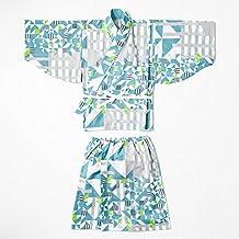 Marlmarl Baby & Kids Original Yukata, Soft Comfortable, Large Size 3-6y Dress, Blue Seiji