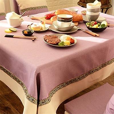 145 * 220 cm rosa beige Patchwork sólido encaje mantel lino y ...