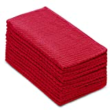 Cotton Craft - 12 Pack - Euro Cafe Waffle Weave Terry Kitchen Towels - 16x28 Inches - Red - 400 GSM Quality - 100% Ringspun 2 Ply Cotton - Highly Absorbent Low Lint - Multi Purpose