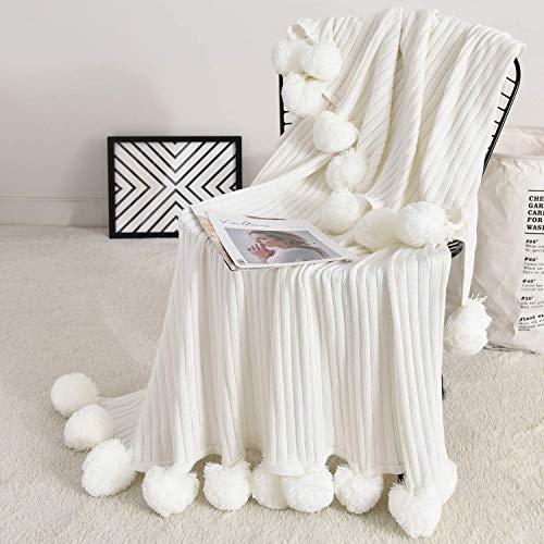 Foomoon Pom Pom Throw Blanket Knit Throw Blankets with Pompom Fringe, 39 x 59 Inch Gifts Soft Plush Crochet Blanket, Decorative Cotton Pom Blanket for Couch Sofa (White)...