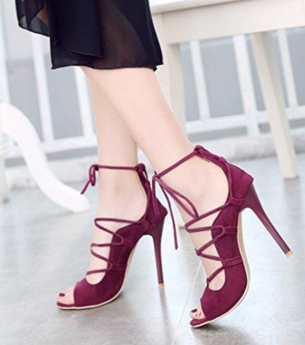 Minetom Sandales Escarpins Ouvert Rouge Escarpins Cheville Talon Haut Sangle Orteil Femme Haut Chaussures Sandals Pointu Talon CrRFwWXqr