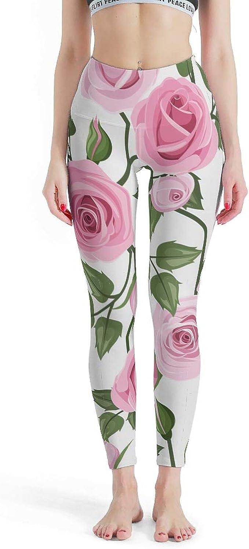 Fashion Yoga Leggings for Teen Girls Green Blue and White Garden Phlox Flowers Leggings for Women Women\u2019s Fitness Workout Leggings Pink
