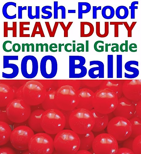 My Balls Pack of 500 Jumbo 3'' Red Color Commercial Grade Ball Pit Balls - Air-filled Crush-Proof in 5 Colors Phthalate Free BPA Free PVC Free by My Balls