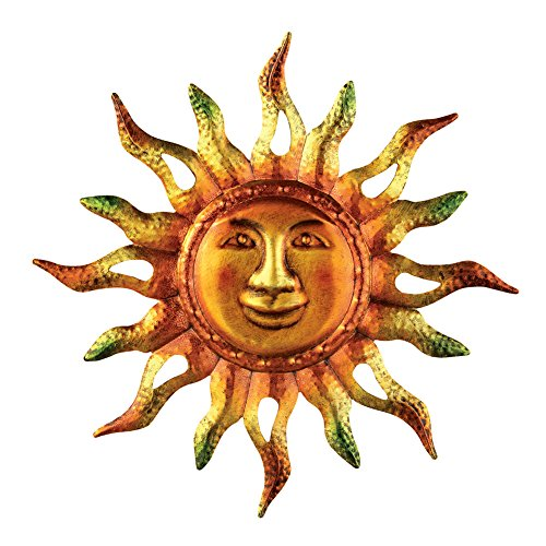- Metallic Iron Sun Wall Art, Hand-Painted in Orange, Yellow, and Green Colors, for Indoor/Outdoor Decor