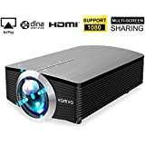 Smartphone Projector for iPhone Android Tablet, Vamvo Mini Portable Video Projector 1080P Support 1800 lumens 130' Screen USB/AV/SD/HDMI/VGA Input
