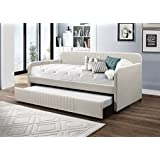 Home Design Amelia Upholstered Daybed With Trundle (Beige)