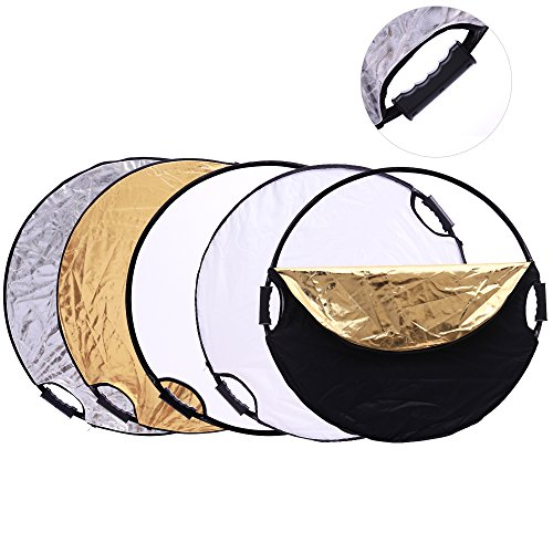 5-in-1 24'/60cm Photography Photo Portable Grip Reflector Circular Collapsible Multi Disc Reflector with Handle, translucent/gold/silver/white/black