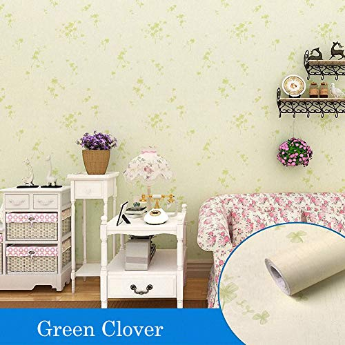 Beige Wallpaper Floral - LIFAVOVY Beige Clover Peel and Stick Wallpaper Decorative Contact Paper Floral Self Adhesive Removable Shelf Liner Roll 17.7