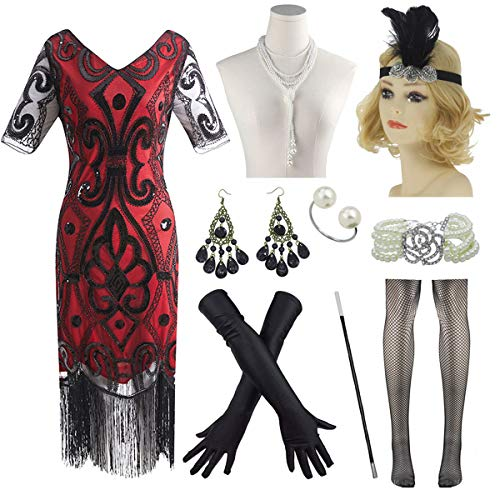 Plus Size Women 20s Beaded Flapper Dresses with Sleeves Gatsby w/Accessories Set (Small, Red) ()