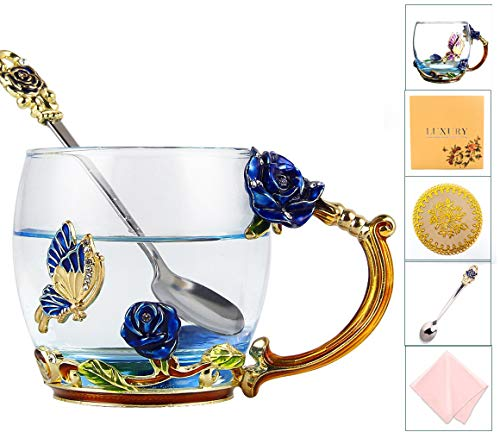 Flower Tea Cup Set, Coffee Cups Set, Butterfly Glass Mug with Spoon Set, Handmade Rose Butterflies Gifts - Best Newlyweds Parents Teachers Couples Gifts (12oz, Blue)