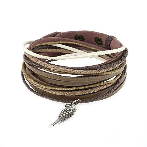 Genuine Leather Cuff Wrap Bracelet,Unisex Multilayer Leather Braided Adjustable Bracelet Multicolor Rope Wristband for Women & Men (Multicolor-C0603)